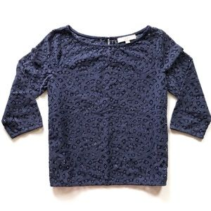 LOFT Navy Open Crochet Lace Shell Top, Size Small